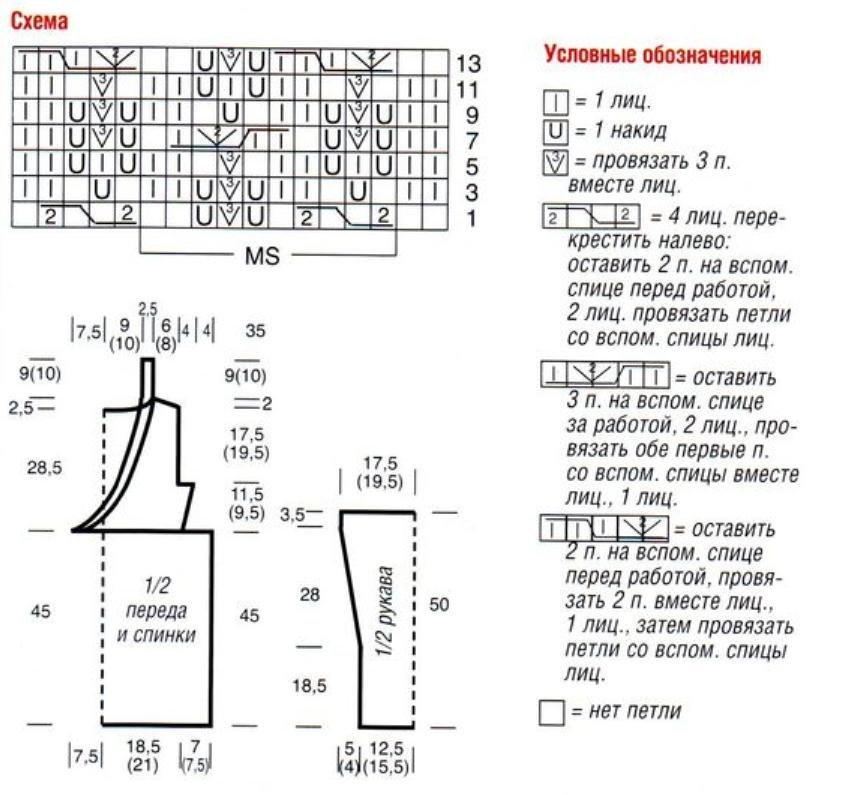 Вязание спицами полувера схема вязания