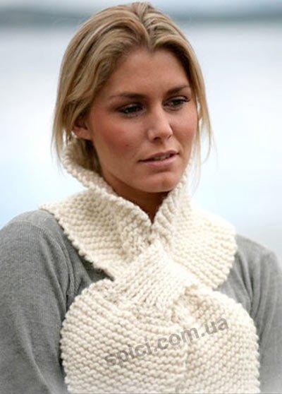 Белый шарф из журнала «Drops», вязание