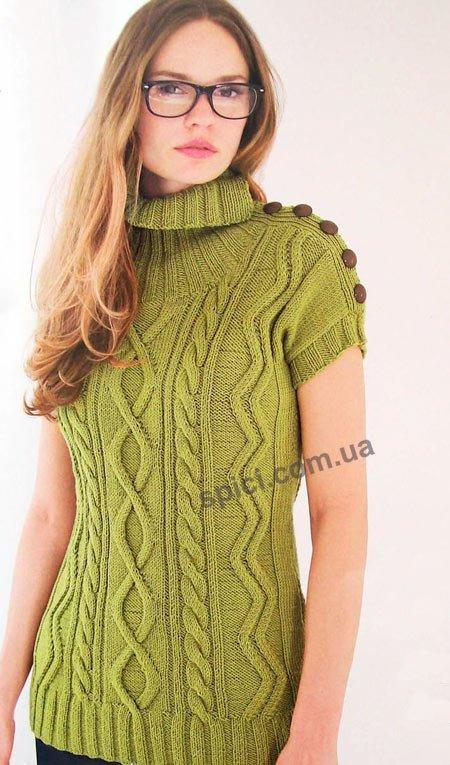 удлиненный пуловер с застежкой на плече вязание спицами вязание