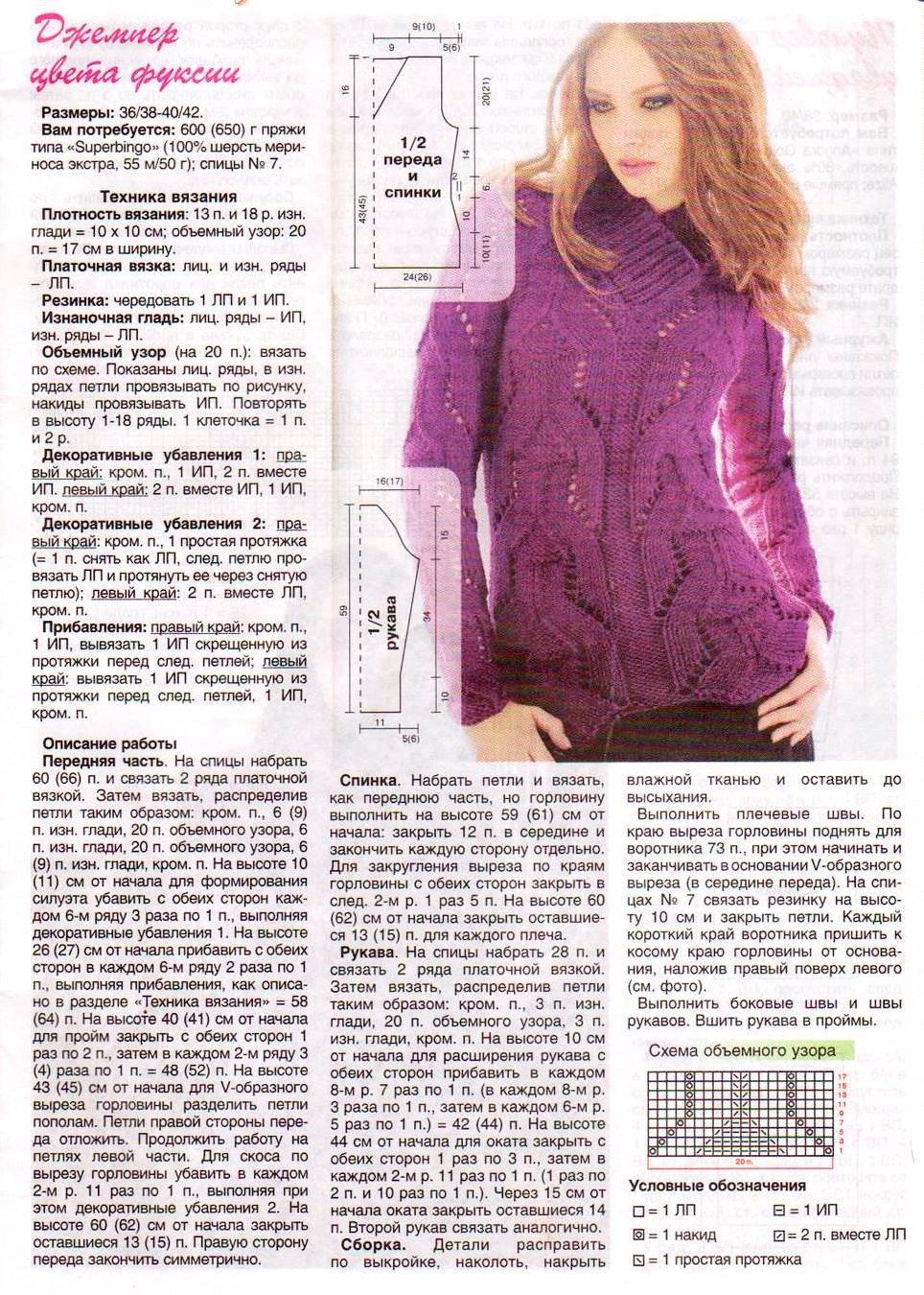 Вязаные пуловеры для женщин спицами с описанием - более 20 24
