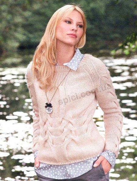 светлый свитер с косами вязание спицами вязание на спицах